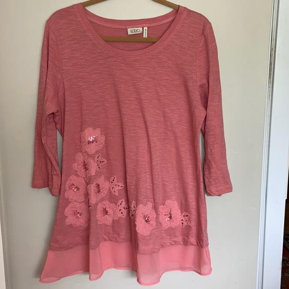 LOGO Lori Goldstein Coral 3/4 Sleeves Tunic
